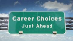 Stock Video Footage of Career Choices ahead highway roadsign