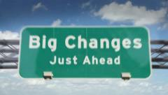 Big Changes ahead highway roadsign Stock Footage