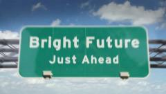 Bright Future ahead highway roadsign - stock footage