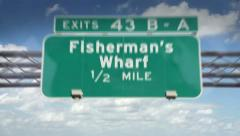 Fisherman's Wharf highway road sign Stock Footage