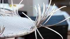 White rattan table Stock Footage