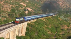 Hindupur passenger train pulls into station near Bangalore Stock Footage