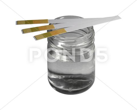 Stock photo of control stripes on glass bottle