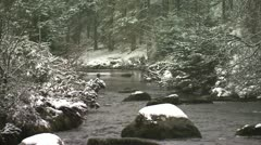 Snowy river CU Bellever Stock Footage