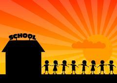 School woth children Stock Illustration