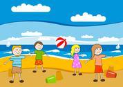 Children on the beach Stock Illustration