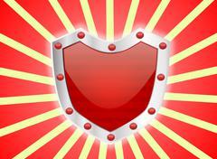 Gem Studded Red Shield Stock Illustration