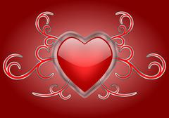 A Shiny Heart with Gothic Swirls Stock Illustration