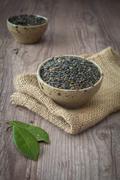 black lentils - stock photo