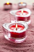 valentine candles - stock photo