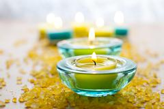 Candles with bath salt Stock Photos