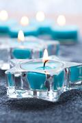 blue candles - stock photo
