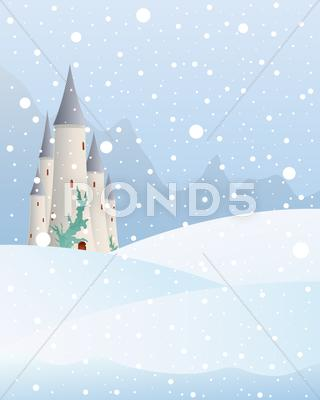 Stock Illustration of snowy castle
