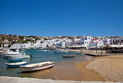 Fishing boats in mykonos, greece Stock Photos