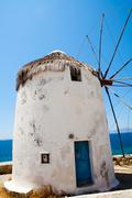 Windmill in mykonos, greece Stock Photos