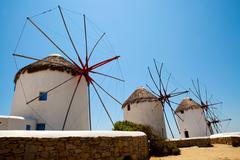 windmills in mykonos, greece - stock photo