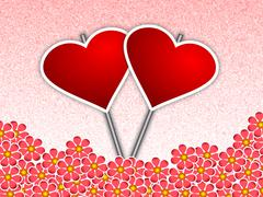 Heart Placards amidst Flowers - stock illustration