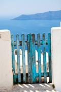 old wooden gate in santorini - stock photo