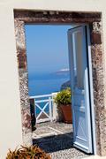 Doorway in santorini Stock Photos