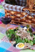 Salad with tuna and anchovies Stock Photos