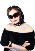 Young stylish woman wearing headscarf and sunglasses Stock Photos
