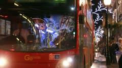 Double deckers in Regent Street, London Stock Footage