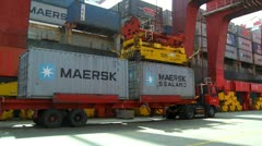 Maersk container being lifted out of prime mover Stock Footage