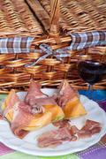 Cantaloupe melon with italian ham Stock Photos