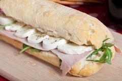 Sandwich with ham and mozzarella Stock Photos