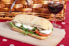 Sandwich with arugula, tomatoes and mozzarella Stock Photos