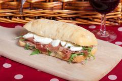 Parma ham sandwich Stock Photos