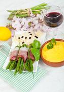 asparagus with speck - stock photo