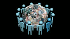 Circle of abstract people around rotating Euros globe animation - stock footage