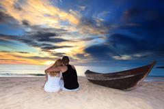 romantic uninhabited island - stock photo