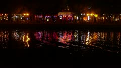 Reflection on lake with splendid China BeiJing ancient architectural lighting. Stock Footage