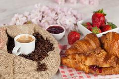 coffee and croissant - stock photo