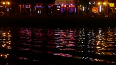 Reflection on lake with splendid China ancient architectural lighting. Stock Footage