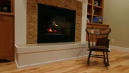 Cozy fireplace and a sitting room jib shot Stock Footage