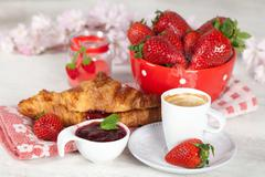 Breakfast with strawberries Stock Photos