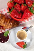 breakfast with strawberries - stock photo