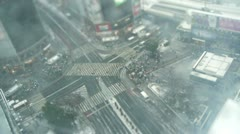 TOKYO - TILT - TIMELAPSE - Crowd and Snow Shibuya Crossing, near Train Stock Footage