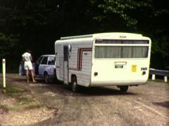 Young Woman Ready to Go on Trip with a Caravan (1983 Vintage 8mm Film) - stock footage