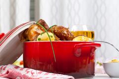 chicken and potatoes - stock photo