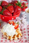 waffle with strawberries - stock photo