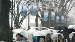 TOKYO - Crowd under Snow walking in Street 2 - stock footage