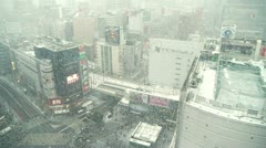 TOKYO - Snow Shibuya Crossing city view - Behind Window Stock Footage