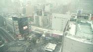 TOKYO - Snow Shibuya Crossing city view - Behind Window Stock Footage