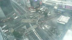 TOKYO - TILT Snow Shibuya Crossing sky Stock Footage