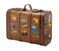 Old suitcase travel stickers isolated  with a clipping path Stock Photos