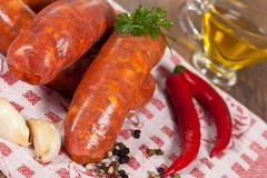 raw italian sausage - stock photo